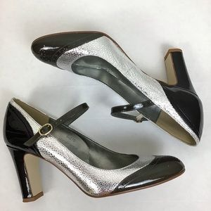 J Crew oxford heels in silver and black/size 8